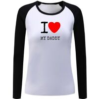Women Girls Casual T-Shirts Printed Graphic I Love My Daddy Design Top Tee Shirt