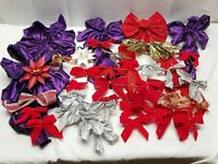 Vintage Christmas Tree Ornaments Decorations Bow Red Silver Gold Purple Present