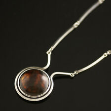 Danish Vintage Sterling Silver Necklace w/ Amber - N. E. From
