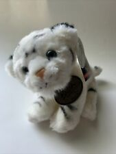 """Busch Gardens Baby WHITE TIGER 8"""" Plush Sitting Stuffed Animal Preowned With Tag"""