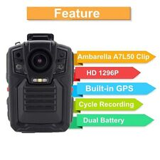 1296P Police Body Camera IR Night Vision 6-hour Record 64GB GPS 140° Degree D6