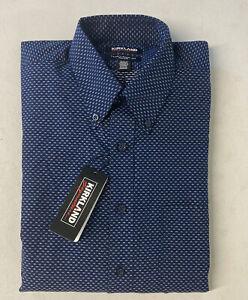 KIRKLAND SIGNATURE Men's Dress Shirt 16 34/35 Textured NAVY Traditional Fit Non