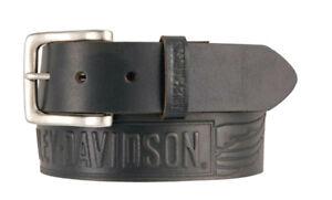 Harley-Davidson® Mens Embossed Winged Bar & Shield Black Leather Belt HDMBT11334
