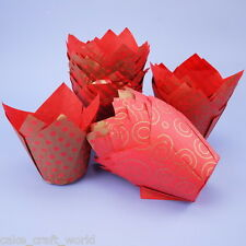 Tulip Muffin Wraps in Red & Gold - Pack of 50