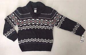 OSHKOSH B'GOSH Boys Long Sleeve Pullover Sweater Size 5 Gray/White/Red