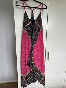 JOE BROWNS Ladies Boho Pink Summer Dress - UK 16 - Asymmetric Hem Strappy Dress