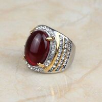 Fashion Stainless Steel Dark Red Glass Stone Rhinestone Gold Plated Men's Rings