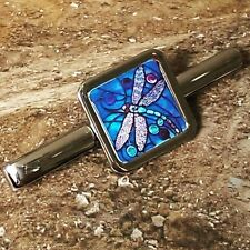 Unique DRAGONFLY TIE CLIP chrome STAINED GLASS art DESIGNER fab TIESLIDE suit