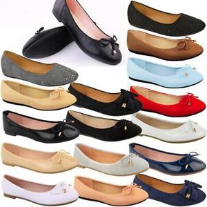 Womens Flat Black Pumps Ballerina Ballet Work Comfort Bow Ballet Dolly Shoes New
