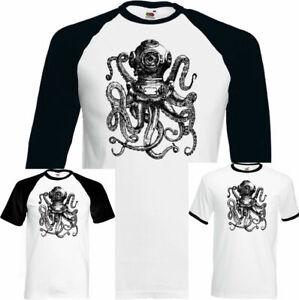 Immersioni Octopus Uomo Deep Sea Diver T-Shirt Maschera Pinne Serbatoio Kit