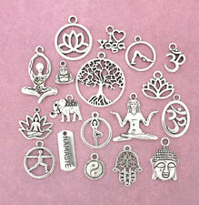 Yoga Charm Collection Deluxe Antique Silver Tone 18 Different Charms - Col037