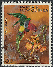 PNG 1967 5c Christmas Territory Parrots  FU  (39)  Very Clean