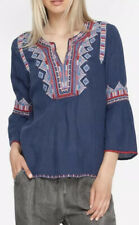 Johnny Was Willow Embroidered Bell Sleeve Cotton Blouse Blue Size Large $209