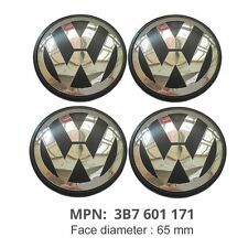 Volkswagen 65mm Alloy Wheel Centre Caps x4 Fits Gofi, Scirocco, Polo, Passat