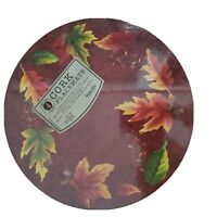 """SET OF 4 HARD PLACEMATS W/ CORK BACK, 14"""" ROUND, Fall Leaves, Thanksgiving"""