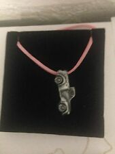 Morris Minor Pick Up ref162 Pewter Effect Car on a Pink Cord Necklace 41CM