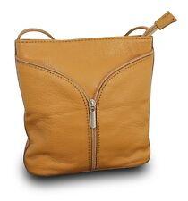 Made In Italy Luxus Damen Schultertasche Clutch Cross Body Bag Echt Leder Cognac