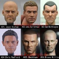 1/6 Male PVC Head Sculpt A- Head Carving Fit 12'' Body Action Figure Hot Toys