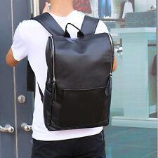 Men's Black Leather Messenger Backpack Laptop Bag Shoulder Rucksack Schoolbag