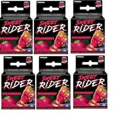 Sweet Rider Strawberry Flavored for Extra Excitement 6 Lot of 3's Latex Condoms