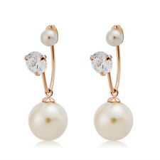 Vintage Pearl Jewelry 18K Rose Gold Plated Crystal Wedding Earrings For Women