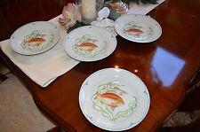 """4 Fitz & Floyd LA MER The Sea Design Rimmed 9"""" Soup Salad Bowls Vintage 1979"""