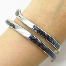 "Vtg 925 Sterling Silver Niello Spiral Snake Design Bangle Bracelet 8"""