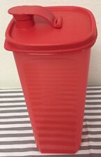 Tupperware Slim Line Pitcher Fridge Bottle Red 2qt Fits On Fridge Door New