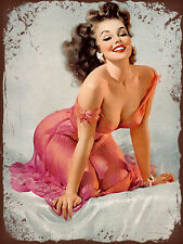 vintage retro style Elvgren sexy pin up pink image metal sign tin wall plaque