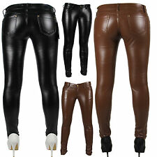 H83# Sexy Leggings Treggings Lack Leder Hüftleggings Hüftjeans Fashion Hose
