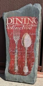 """Red kitchen wall plaque on slate, """"Dining"""" 9 1/4"""" x 4 5/8"""", ready to hang"""