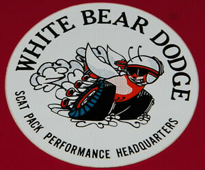 """VINTAGE """"WHITE BEAR DODGE SCAT PACK"""" DRAG RACING STICKER IN VG UNUSED CONDITION!"""