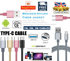 Heavy Duty Braided Type C USB Charger Cable 1M 2M 3M Fast Charging lead UK