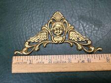 (1) One NOS Vtg Brass Plated Metal Cherub Decoration Clock Face Corner Ornament