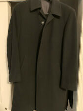 HUGO BOSS Men's Cashmere Wool Long Pea Coat Black 38R MINT