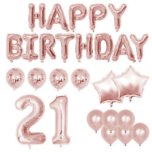 21st Birthday Deluxe Balloon and Banner Party Pack - Rose Gold