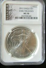 2012 USA Early Release NGC MS70 Silver Liberty Eagle 1oz $1 One Dollar Coin