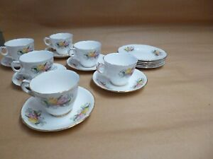 Royal Stafford Flower design 6 cups, 6 Saucers and 5 side plates,