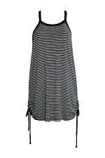 Minikleid Streifen Uni schwarz weiß gestreift Sommer Baumwolle Sommerkleid NEU