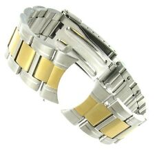 22mm Speidel Stainless Two Tone Curved End Foldover Clasp Watch Band 1421/15