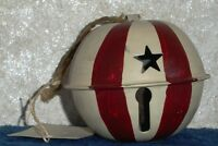 AMERICANA METAL BALL HANGING ORNAMENT Hand Painted Marble Inside