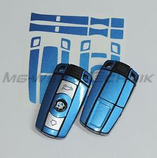 1B_Schlüssel-Dekor Aufkleber BMW 1er 3er 5er 6er Z4 X1 X5 blau metallic glänzend