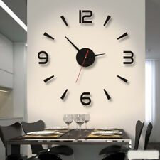 Modern Wall Clock 3D Mirror Sticker Quartz Needle Big Number Watch DIY Decor
