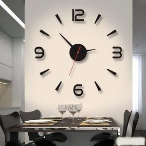 Modern Wall Clock 3D Mirror Sticker Quartz Needle Big Number Watch DIY Decor