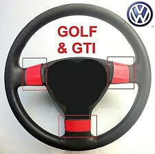 VOLKSWAGEN GOLF MK5 & GTI (2004-08) 3 SPOKE STEERING WHEEL TRIMS - SPORTY RED