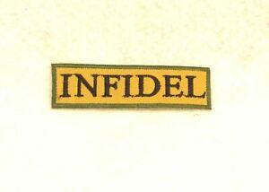Infidel Black on Tan Green Border Small Decorative Patch for Biker Vest or Jacke