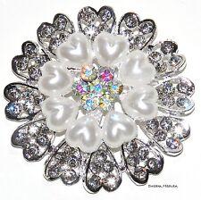 Pearl Flower Diamante Broach Rhinestone Crystal Wedding Party Diamonte Brooch UK