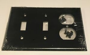 3 Gang Double Toggle Duplex Painted Smooth Black Metal Combination Wall Plate