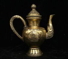 Tibet Buddhism Brass Bronze Beast 8 Auspicious Symbol Wine Tea Pot Flagon Statue