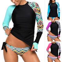 Women Long Sleeve UV Sun Protection UPF 50+ Rash Guard Top 2 Piece Swimsuit Set